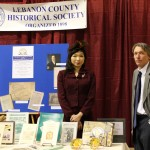 Lebanon County Historical Society's Booth.  Tina Valgenti, Office Coordinator and Brian Kissler, Archivist.
