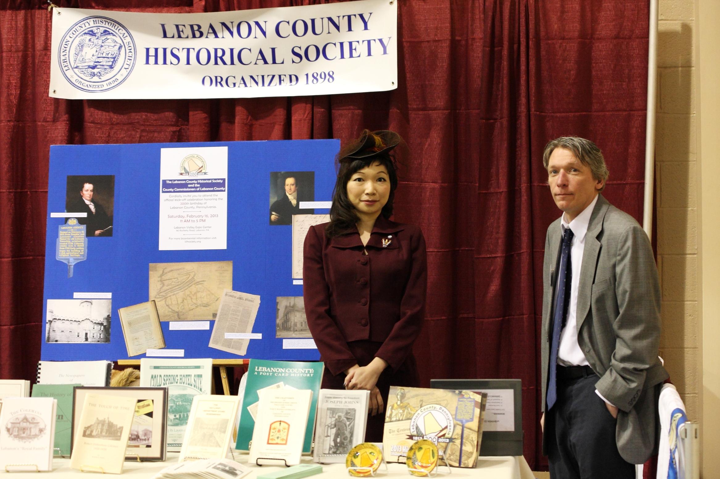 Tina Valgenti and Brian Kissler, LCHS Booth Bicentennial 2-16-2013